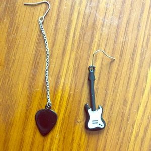 Guitar and Guitar Pick Earrings